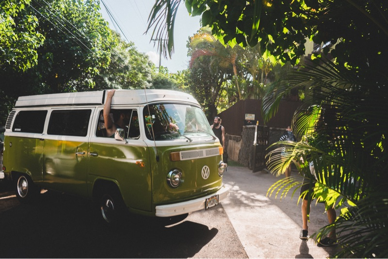 VW Campervan in a tropical setting